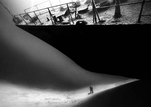 Black and white underwater wreck photography by David Doubilet