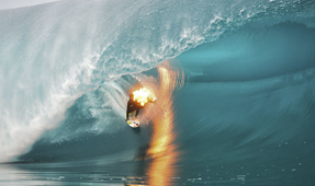Surfer Photographed While on Fire